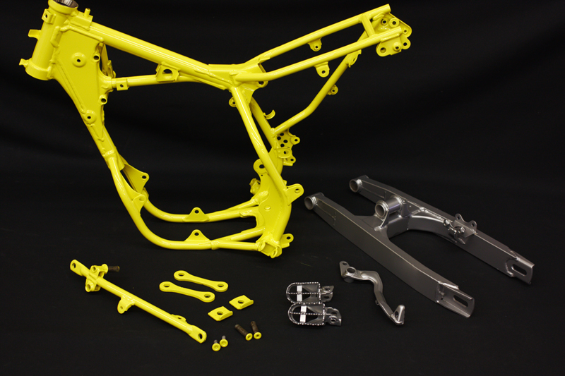yellow-powder-coated-small-dirt-bike-frame-swingarm